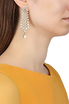 Gold Plated American Diamond Drop Earrings by Auraa Trends