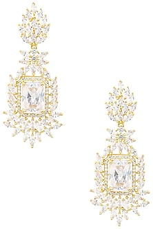 Gold Finish American Diamond Earrings by Auraa Trends