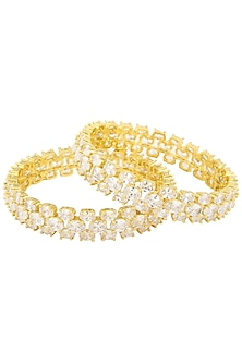 Set Of 2 Gold Plated Triple Line American Diamond Bangles by Auraa Trends