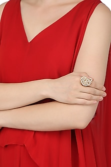 Gold Plated Paisley Shaped American Diamond Ring by Auraa Trends