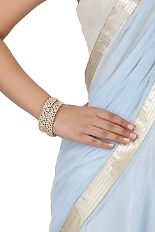 Set Of 2 Gold Plated American Diamond Bangles by Auraa Trends
