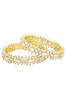 Set Of 2 Gold Plated Abstract American Diamond Bangles by Auraa Trends