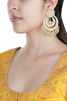 Gold Finish Kundan Pearl Chandbali Earrings by Auraa Trends