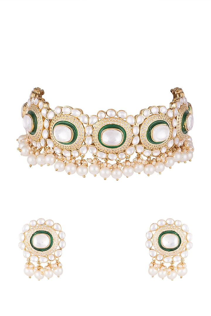 Gold Finish Green Meenakari Necklace Set by Auraa Trends