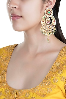 Gold Finish Green & Red Meenakari Chandbali Earrings by Auraa Trends