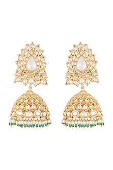 Gold Finish Kundan & Pearl Jhumka Earrings by Auraa Trends