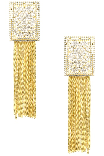 Gold Plated Rectangular Shaped American Diamond Earrings by Auraa Trends