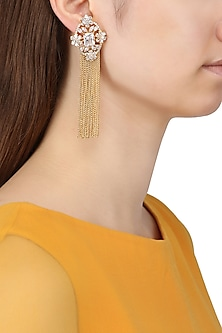 Gold Plated Flower Shaped American Dimanod Earnings by Auraa Trends