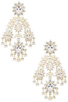 Gold Plated Ethnic Earrings Set In Alloy Studded with American Diamonds by Auraa Trends