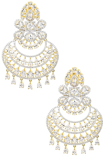 Gold Plated Pear Shapped Earrings Set In Alloy Studded with American Diamonds by Auraa Trends