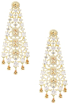 Gold Plated Square Shapped Earrings Set In Alloy Studded with American Diamonds by Auraa Trends