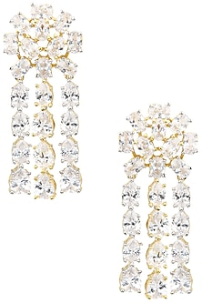 Gold Plated Dangling Earrings Set In Alloy Studded with American Diamonds by Auraa Trends