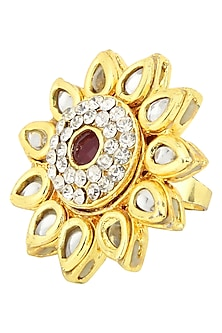 Gold Plated Ring In Alloy Studded Kundan with American Diamonds by Auraa Trends