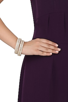 A Pair Of Gold Plated Round Bangle In Alloy Studded with American Diamonds by Auraa Trends