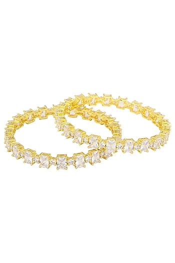 A Pair Of Gold Plated Round Bangle In Alloy Studded with Rectangular American Diamonds by Auraa Trends