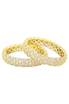A Pair Of Gold Plated Round Bangle In Alloy Studded with Oval and Round American Diamonds by Auraa Trends