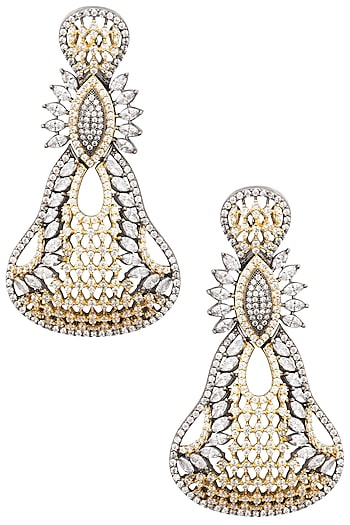 Rhodium Plated Oxidized American Diamond Pear Shaped Earrings by Auraa Trends