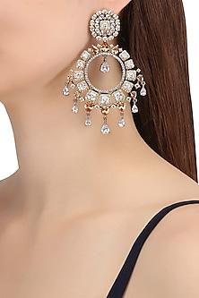 Rhodium Plated Oxidized American Diamond Chandbali Earrings by Auraa Trends