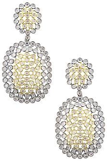 Rhodium Plated Two Drop Oxidized Amercian Diamond Earrings by Auraa Trends