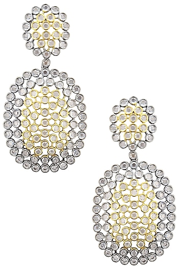 Rhodium Plated Two Drop Oxidized Amercian Diamond Earrings by Auraa Trends