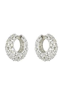 White Finish Diamante Hoop Earrings by Auraa Trends