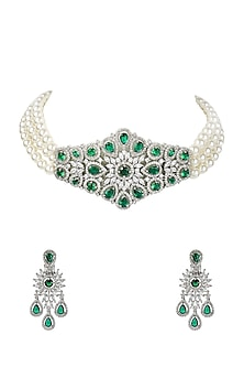White Finish Green Onyx Necklace Set by Auraa Trends