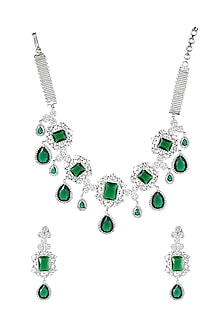 White Finish Green Onyx Stone Necklace Set by Auraa Trends