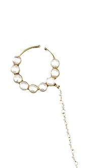 Gold Finish Kundan Nose Ring by Auraa Trends