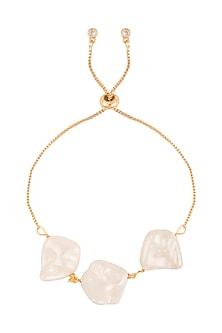 Gold Polish Semi-Precious White Stone Bracelet Rakhi by Auraa Trends
