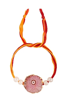 Semi-Precious Pink Stone Rakhi by Auraa Trends