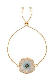 Gold Polish Semi-Precious Grey & Blue Stone Bracelet Rakhi by Auraa Trends