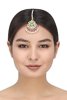 Kundan and Pearl Multicolour Mangtika by Auraa Trends