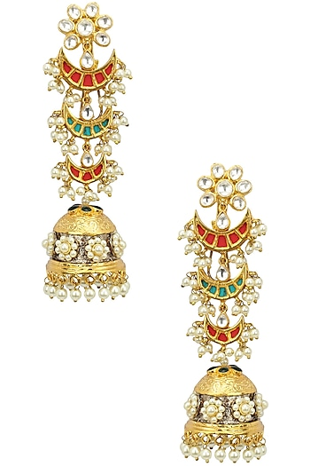 Kundan and Pearl Multicolour Jhumki Earring by Auraa Trends