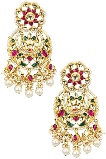 Kundan and Pearl Multicolour Chaanbali by Auraa Trends