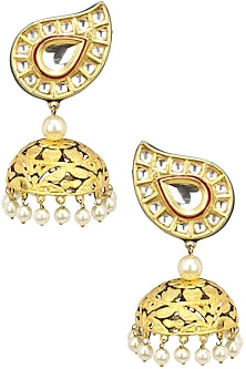 Kundan and Pearl Red Jhumka by Auraa Trends
