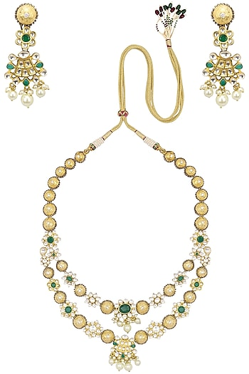 Gold Finish Kundan Stone and Pearls Necklace Set by Auraa Trends