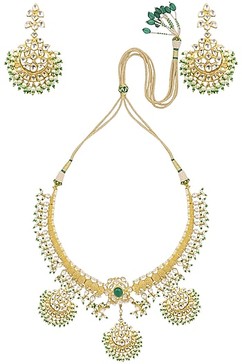 Gold Finish Kundan Stone Crescent Motifs Necklace Set by Auraa Trends
