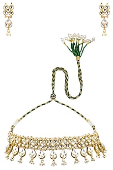 Gold Plated Semi-Precious Stones Kundan Necklace by Auraa Trends-JEWELLERY ON DISCOUNT
