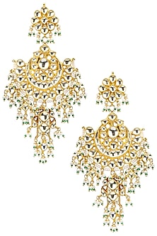 Gold Plated Semi-Precious Stones Dangler Earrings by Auraa Trends