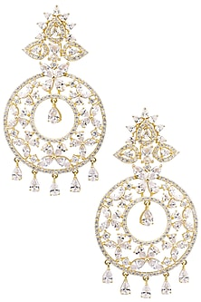 Gold Plated White Semi-Precious Stones Dangler Earrings by Auraa Trends