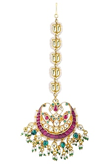 Gold Plated Pearl Chain and Semi-Precious Stones Kundan Maangtikka by Auraa Trends