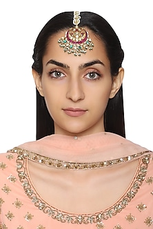 Gold Plated Pearl Chain and Semi-Precious Stones Kundan Maangtikka by Auraa Trends