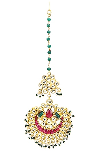Gold Plated Green Beads and Semi-Precious Stones Kundan Maangtikka by Auraa Trends
