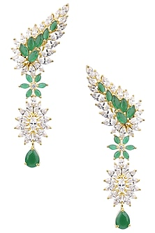 Gold Plated Green American Diamond Earrings by Auraa Trends
