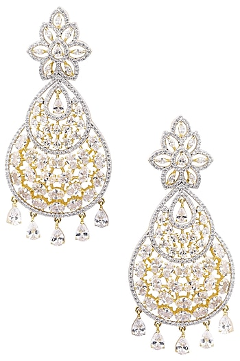 Gold Plated Flower Design American Diamond Earrings by Auraa Trends