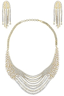 Rhodium Plated Floral Design American Diamond Layered Necklace Set by Auraa Trends