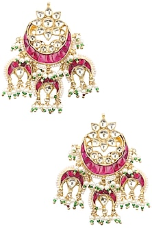 Gold Finish White and Red Kundan Dangler Earrings by Auraa Trends