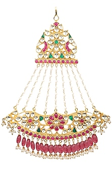 Gold Finish White, Green and Red Kundan Passa by Auraa Trends