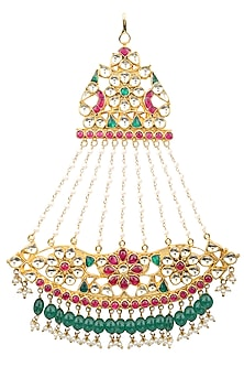 Gold Finish White, Red and Green Kundan Passa by Auraa Trends