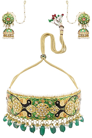 Gold Finish Meenakari and Green Stones Choker Necklace Set by Auraa Trends